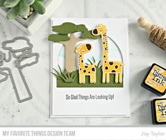 Giraffing Me Crazy Stamp Set and Die-namics, Safari Tree Die-namics, Stitched Dome STAX Die-namics, Scenic Safari Die-namics, Jungle Friends Die-namics, Cloud Stencil - Joy Taylor  #mftstamps