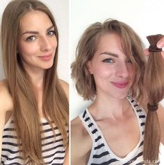 Avant-Apres : 10 Extreme Haircut Transformations That Will Inspire You To Get A New Haircut Donate Your Hair, Donating Hair, Very Short Haircuts, New Haircuts, Long To Short Hair, Short Hair Cuts, Medium Hair Styles, Short Hair Styles, Before And After Haircut