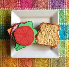 Diy sponge sandwich- the sponge makes the bread look so real <3
