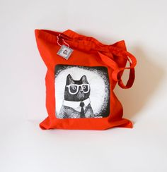 Working Mr Cat Reusable shopping tote bag in red by zyzanna