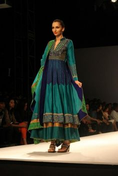 Ekru wifw a/w 2013 peacock green blue gold anarkali lengha