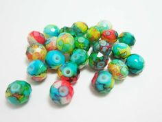 20 Rainbow Glass Rondelles Tie Dye Bead Marbled Beads Multicolored Bright Loose Beads 8mm x 6mm  3920 by OverstockBeadSupply on Etsy
