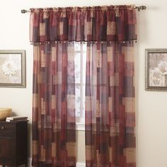 Eden Burgundy Window Sheer Panel