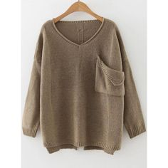 SheIn(sheinside) Khaki V Neck Ripped Dip Hem Sweater With Pocket ($19) ❤ liked on Polyvore featuring tops, sweaters, khaki, v-neck pullover, pullover sweaters, distressed sweater, v neck pullover and brown sweater