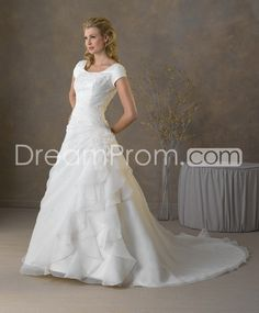 US $242.29 Free Shipping Elegant A-line/Princess Short-Sleeve Scoop Floor-Length Chapel Pick-up Wedding Dresses