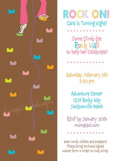 Rock Climb girl Birthday Invitation Swanky Press Rock Climbing