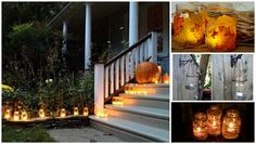 Use tea candles or battery powered candles on your front porch or on the middle of the table to make your pumpkins, leaves, and changing trees light up in unimaginable ways.