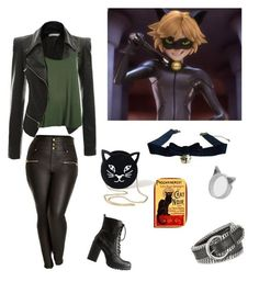 """""""Miraculous Ladybug - Chat Noir (genderbend)"""" by skullcandi13 on Polyvore featuring City Chic, WearAll, Charlotte Russe, Meadowlark, Forzieri and plus size clothing:"""