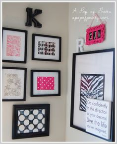 apopofpretty.com  She uses scrapbook paper to decorate!  Great idea for guest room gallery wall