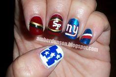 Football: niners all the way round! Football Nail Art, Nfl Fantasy, National Football League, Hair And Nails, Nail Colors, Nail Designs, Give It To Me, Nail Polish, Tim Tebow