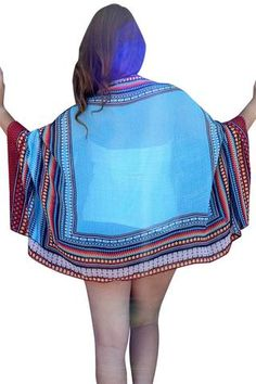 Cover Ups & Beach Robes En Mousseline De Soie Imprime Ethnique Cap Cover Up