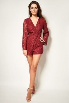 ⚡️ SALES ⚡️  £19.99 >> http://www.havetolove.com/clothing-c1/jumpsuits-playsuits-c146/red-lace-bell-sleeve-playsuit-p3194 #trending #havetolove #sale #boutique #nefollowers