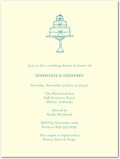 Shower invite? Thermography Bridal Shower Invitations Tiered Cake - Front : Charcoal