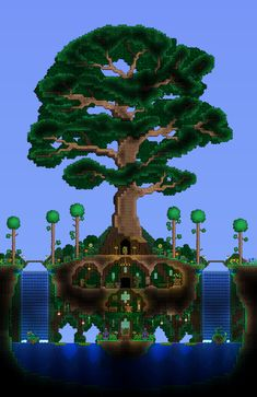 Living Tree + house for the Dryad - Terraria Minecraft Building Designs, Minecraft Houses Blueprints, Minecraft Projects, Minecraft Buildings, Minecraft Ideas, Terraria House Design, Terraria House Ideas, Terraria Tips, Terraria Memes