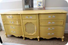 Painted dresser, yellow