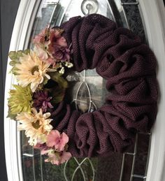Purple Burlap Wreath with Flowers by WhirlwindCreation on Etsy, $42.00
