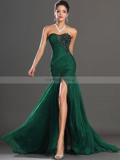 Sexy Sequined and Appliqued Chiffon Mermaid Prom Dress