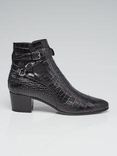 1555e4b259970c Yves Saint Laurent Black Crocodile Embossed Leather Ankle Boots Size 10.5 41