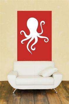 Red Octopus Child Art Wall Murals