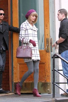 Taylor Swift.. Finders Keepers Long Time Cream Plaid Coat, Aldo Frattapolesine Bag, Rag & Bone Harrow Boots, and Accessorize Wool Glove with Bow and Vent..... - Celebrity Fashion Trends