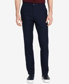 Calvin Klein Men's Classic-Fit, Flat-Front Stretch Pants - Blue 38x32