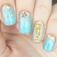 Beach Inspired Mermaid Nails With Seashells and Starfish