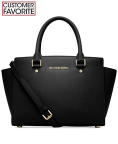 Michael Kors Selma Medium Saffiano Leather Satchel in Black/Gold None Outlet Michael Kors, Michael Kors Selma Medium, Cheap Michael Kors, Handbags Michael Kors, Michael Kors Bag, Satchel Purse, Satchel Handbags, Leather Satchel, Black Satchel