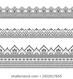 Set of seamless borders for design, application of henna, Mehndi and tattoo. Decorative pattern in ethnic oriental style. Mandala Art Lesson, Mandala Drawing, Zentangle, Motif Oriental, Oriental Style, Flower Cover Up Tattoos, Mehndi Designs For Kids, Boarder Designs, Mehndi Patterns