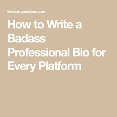 Writing about yourself isn't easy but you can't let that stop you from writing a professional bio that makes a memorable first impression. In this guide, I share tips and tricks for writing a career-propelling bio on every major platform. Writing A Bio, Cool Writing, Writing Prompts, Writing Tips, Small Business Resources, Business Advice, Business Website, Personal Bio, Personal Development Coach