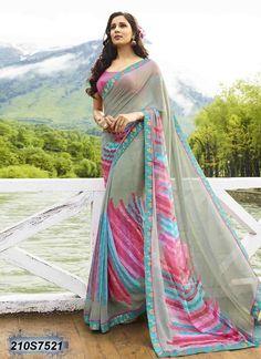 af239c7f0 Majestic Multi Coloured Georgette Printed Saree Lehanga Saree