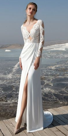 5b72d12fa5388 Marvelous Tulle & Chiffon Scoop Neckline See-through Bodice Sheath/Column Wedding  Dress With