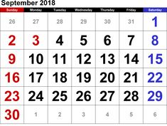 September 2019 Printable Calendar PDF, Word, Excel Template Don't Miss: September 2019 Calendar With Holidays Blank September Calendar 2019 Template Related