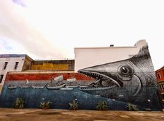 by Phlegm - new mural in Dunedin, New Zealand - May 2014