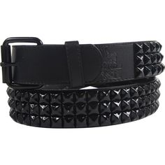 Amazon.com: Black 3 row pyramid studded leather belt W/ black studs,... ($20) ❤ liked on Polyvore featuring accessories, belts, leather belt, pyramid stud belt, studded leather belt and studded belt
