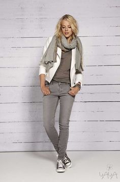SPRING/SUMMER 2014 fall outfits womens fashion clothes style apparel clothing closet ideas gray scarf pants white blazer sneakers
