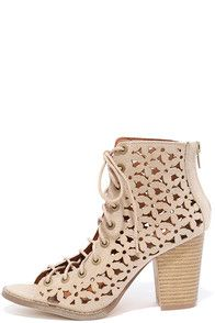 """Channeling your flower power is easy with the Daisy Fields Beige Suede Cutout Lace-Up Booties! Vegan suede climbs from a peep-toe, to a lace-up upper with floral laser-cut detail. 3.25"""""""" heel zipper. #CuteDresses #TrendyTops, #FashionShoes #JuniorsClothing"""