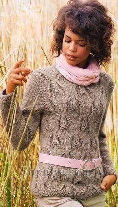 www.SHPULYA.com - Бежевый пуловер с рельефным узором, вязаный спицами