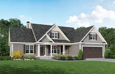 This modest one-story design has a siding and cedar shake exterior and a welcoming front porch. The island kitchen enjoys a trio of skylights and a cathedral ceiling that runs into the great room. The Marisol house plan 1547 is now available!  1720 sq ft | 3 Beds | 2 Baths #wedesigndreams #craftsmanhouseplan Ranch House Plans, Cottage House Plans, Country House Plans, Cottage Homes, Farm House, Unique Small House Plans, One Story Homes, Bedroom Floor Plans, Farmhouse Plans