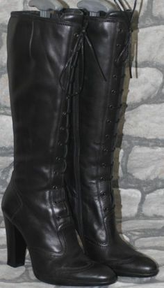 Black Leather Victorian Steampunk Goth Officer Pirate Lace Up Knee Boots 5 38