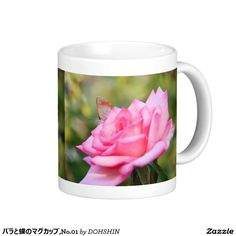 Magnetic cup of rose and butterfly, No.01 Classic White Coffee Mug