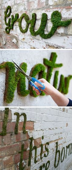 Make Your Own Moss Graffiti | Ingredients: 1 can of beer 1/2 teaspoon sugar Several clumps of garden moss Equipment: Recycled plastic container with lid Blender Paintbrush Stencil with your design Crumble the moss into the blender. Add the beer and sugar and blend just long enough to create a smooth, creamy consistency. Now pour the mixture into the plastic container. Paint the moss blend onto a damp and shady wall, either free-hand or using a stencil #diygarden