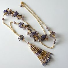 Purple Lampwork Necklace Extra Long Gold by PacificJewelryDesign