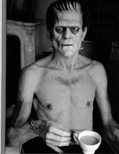 Boris Karloff drinking tea. 1931