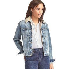 Gap Women 1969 Sherpa Denim Jacket ($72) ❤ liked on Polyvore featuring outerwear, jackets, light indigo, tall, sherpa denim jacket, blue jackets, tall jackets, blue denim jacket and pleated jacket