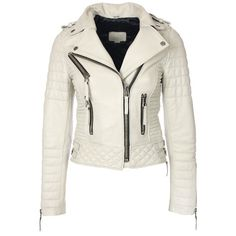 Quilted Biker Leather Jacket (Ivory) ❤ liked on Polyvore featuring outerwear, jackets, 100 leather jacket, leather biker jackets, white jacket, white quilted jacket and biker jackets