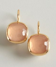 Pomellato gold and rose quartz 'Cipria' estate earrings http://amzn.to/2srmb87