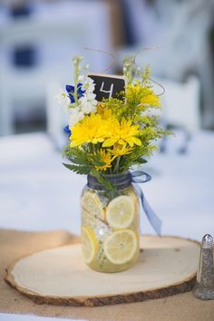 rustic table decoration with light blue and yellow - Google Search