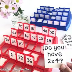 What a fun way to play and learn math facts! Use the game Guess Who? to teach addition, subtraction, multiplication and division! Easy to set up at home or in a math center. Fun Math, Learning Activities, Activities For Kids, Good Math Games, Kids Educational Games, Maths Games Ks1, Teaching Multiplication Facts, Division Math Games, Math Fractions