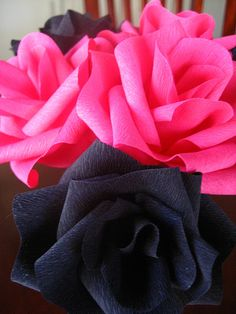Hot pink and black roses