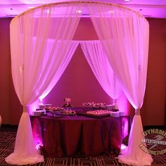 Beautiful #Chuppah or #Huppah with accent lighting.  Call me to rent for your #wedding #dj #decor #uplights #Elegantwedding
